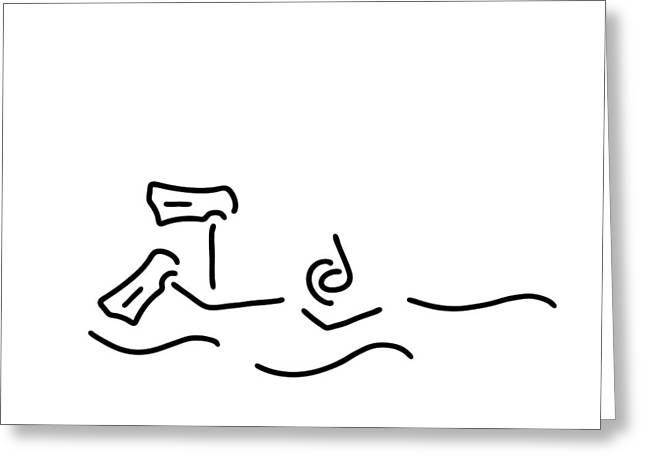 Snorkel Drawings Greeting Cards - Snorkel Divers Dive Greeting Card by Lineamentum