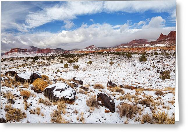 Monolith Greeting Cards - Snow at Capitol Reef - 4 Greeting Card by Alex Mironyuk