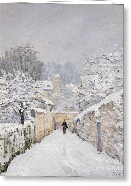 Alleys Greeting Cards - Snow at Louveciennes Greeting Card by Alfred Sisley