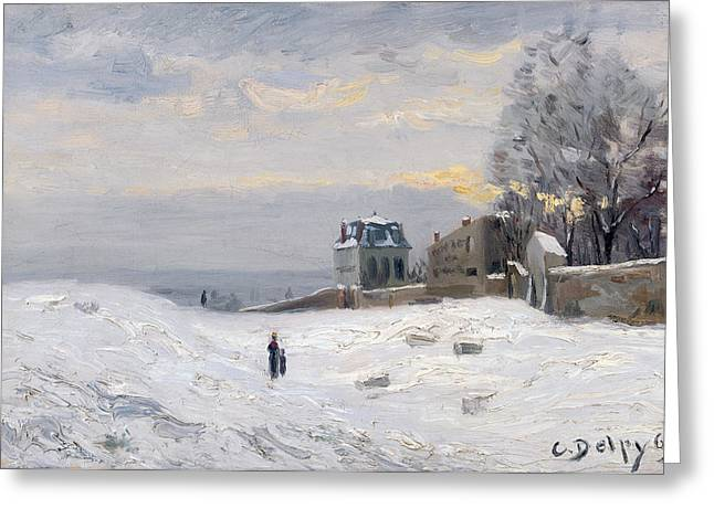 Snow Scene Landscape Greeting Cards - Snow at Montmartre Greeting Card by Hippolyte Camille Delpy