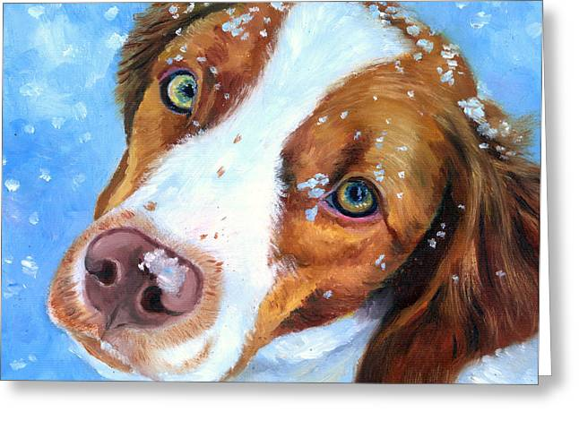 Brittany Greeting Cards - Snow Baby - Brittany Spaniel Greeting Card by Lyn Cook