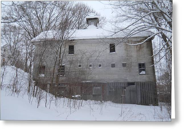 Costello Greeting Cards - Snow Barn Greeting Card by Carol Costello