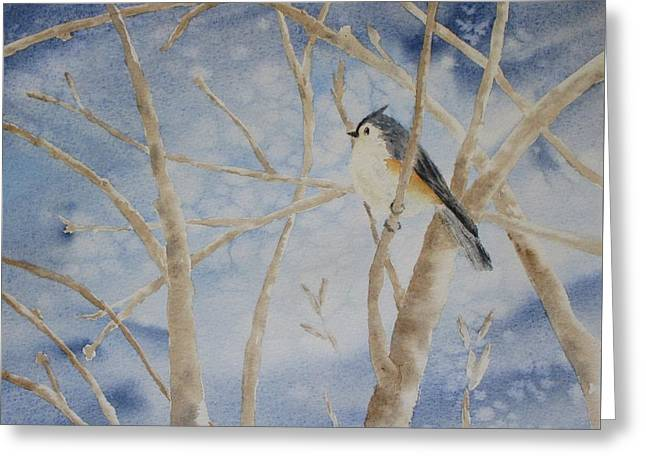 Snow Scene Landscape Greeting Cards - Snow Bird Greeting Card by Sandra Norris