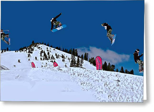 Snow Scene Landscape Greeting Cards - Snow Boarder Greeting Card by Maria Coulson