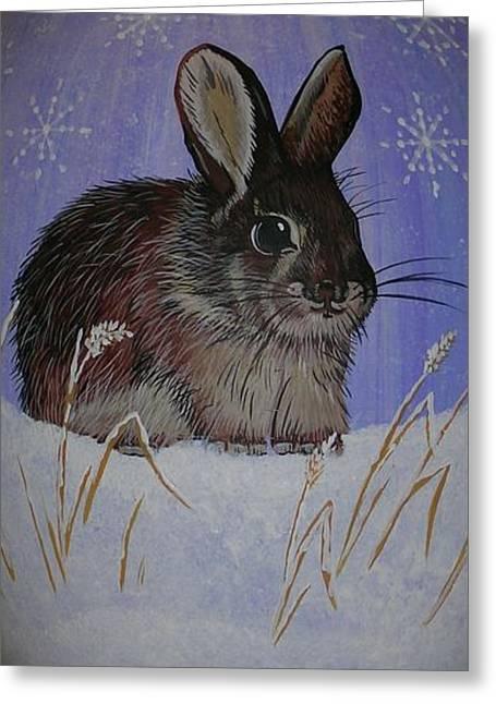 Home Ceramics Greeting Cards - Snow Bunny Greeting Card by Jennifer Lake