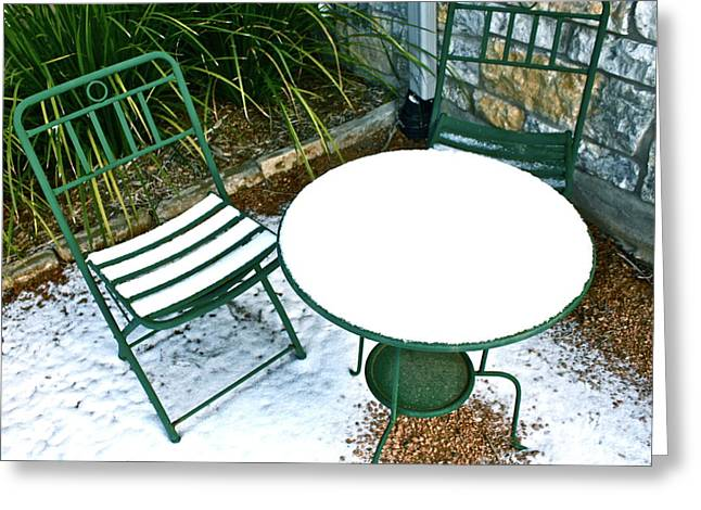 Table And Chairs Greeting Cards - Snow Cafe Greeting Card by Alison Mae Photography