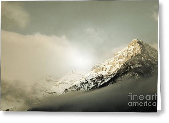 Snow Capped Banff Greeting Card by Andrea Hazel Ihlefeld