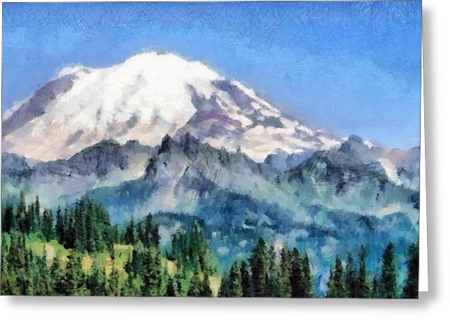 Snowed Trees Pastels Greeting Cards - Snow Capped Mountain Greeting Card by Russ Harris