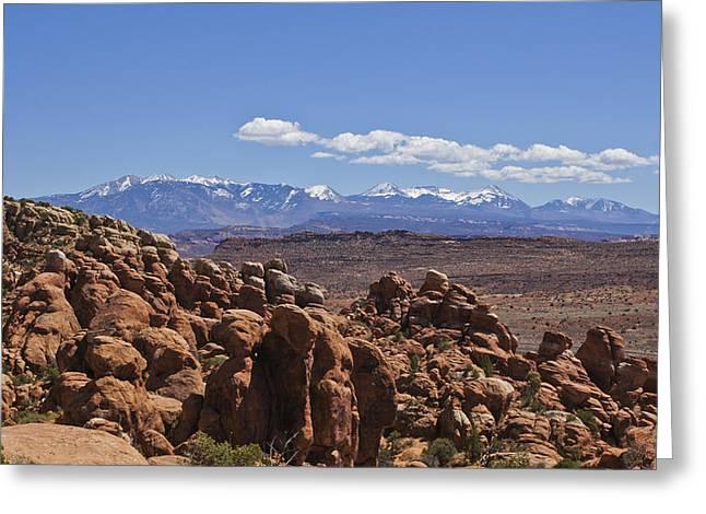 Slickrock Greeting Cards - Snow Capped Peaks in the Desert Greeting Card by Brian Kamprath