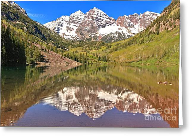 Rocky In Spring Greeting Cards - Snow Capped Reflections Greeting Card by Adam Jewell