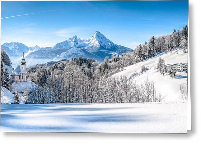 Snow-capped Winter Wonder Land Greeting Card by JR Photography