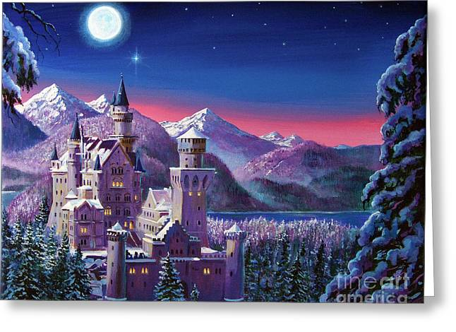 Best Selling Paintings Greeting Cards - Snow Castle Greeting Card by David Lloyd Glover