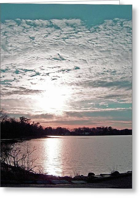 Snow Cloud Sunset Greeting Card by Mary Ann Weger