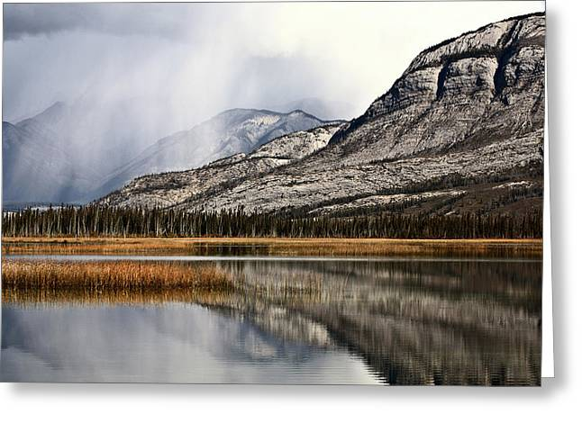 Mountain Road Greeting Cards - Snow Clouds in the Rocky Mountains of Alberta Greeting Card by Mark Duffy