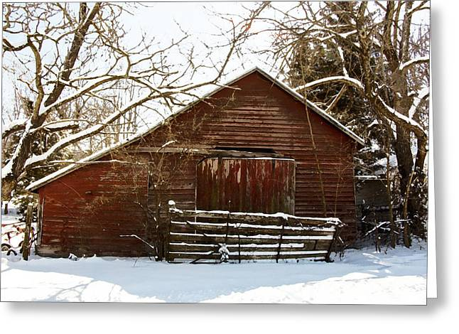 Barn Covered In Snow Greeting Cards - Snow covered barn Watercolor Greeting Card by Shannon Louder