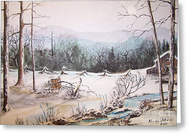 Bob Wire Greeting Cards - Snow Covered Barrel Greeting Card by Randy Edwards