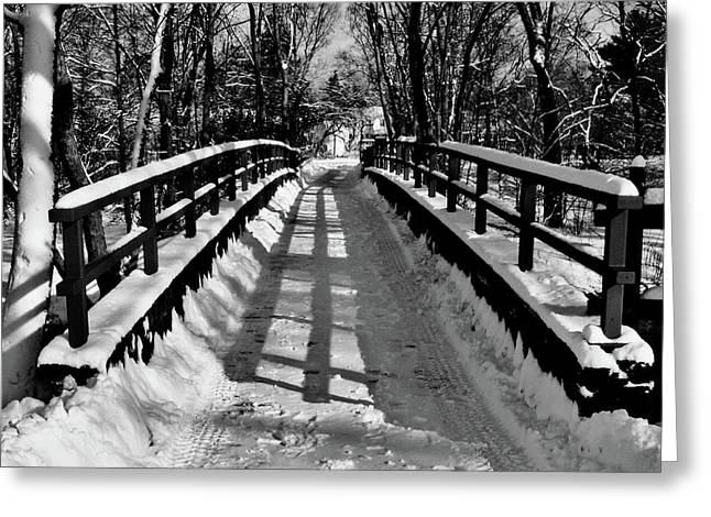 Snow-covered Landscape Greeting Cards - Snow Covered Bridge Greeting Card by Daniel Carvalho