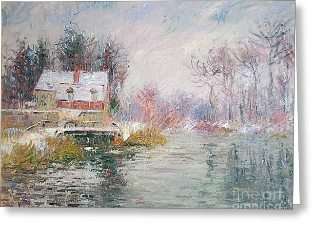 Snow Covered Bridge Greeting Card by Gustave Loiseau