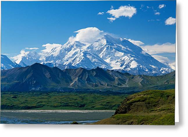 Denali National Park Greeting Cards - Snow-covered Mount Mckinley, Blue Sky Greeting Card by Panoramic Images