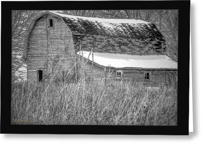 Swingset Greeting Cards - Snow Covered Red Barn Black and White Greeting Card by LeeAnn McLaneGoetz McLaneGoetzStudioLLCcom