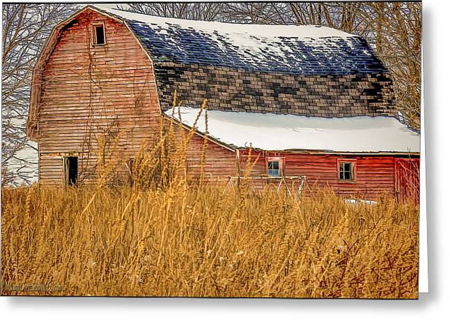 Swingset Greeting Cards - Snow Covered Red Barn Greeting Card by LeeAnn McLaneGoetz McLaneGoetzStudioLLCcom