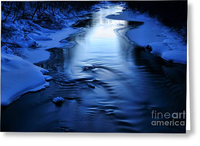Winterly Forest Greeting Cards - Snow covered river on March evening after sunset Greeting Card by Mikko Palonkorpi