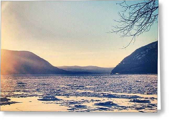 Snow Covered River Greeting Card by Victory  Designs