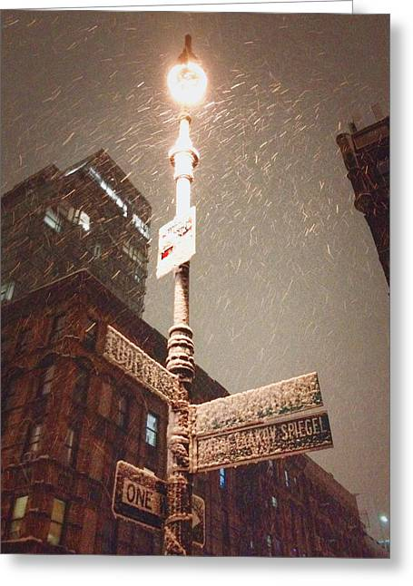 In-city Greeting Cards - Snow Covered Signs - New York City Greeting Card by Vivienne Gucwa