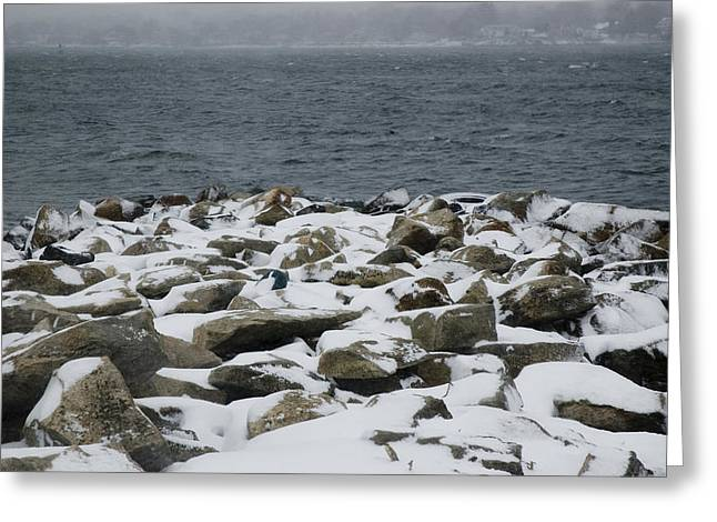 Groton Greeting Cards - Snow Covered Stones On The Bank Greeting Card by Todd Gipstein