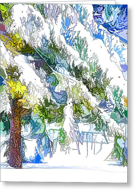 Snow-covered Tree Branch  3 Greeting Card by Lanjee Chee