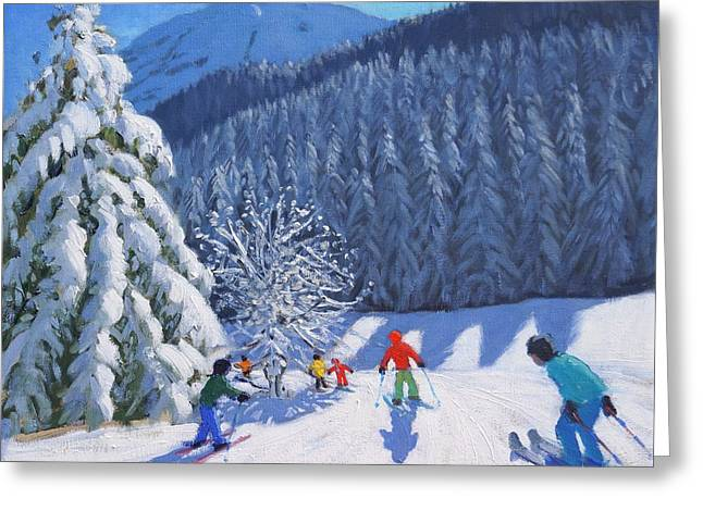 Skiing Christmas Cards Greeting Cards - Snow Covered Trees Greeting Card by Andrew Macara