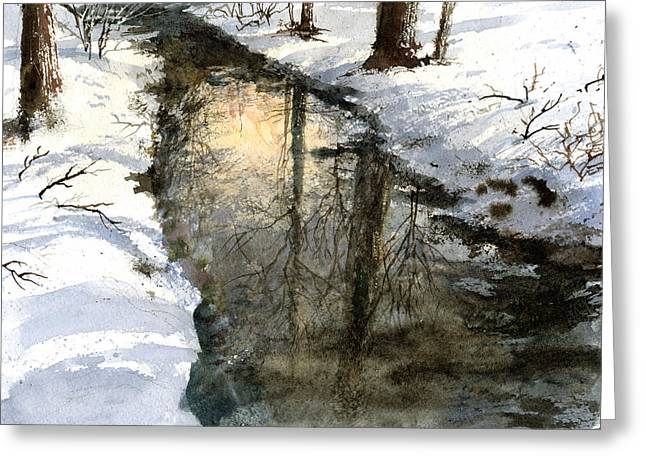 Creek Paintings Greeting Cards - Snow Creek Greeting Card by Andrew King