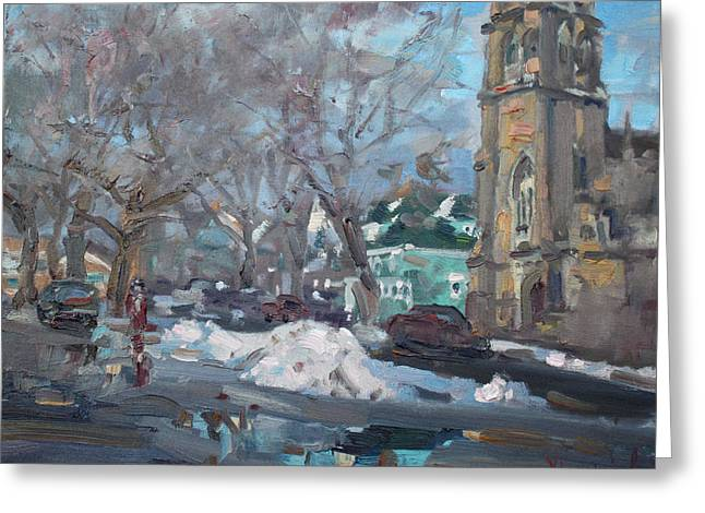 Snow Day At 7th St By Potters House Church Greeting Card by Ylli Haruni