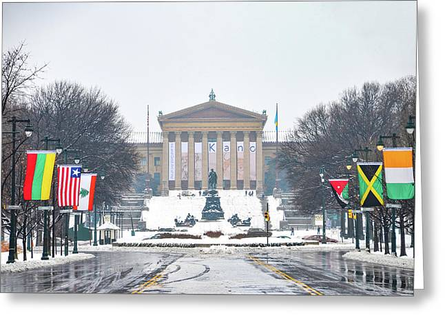 Snow Day At The Philadelphia Art Museum Greeting Card by Bill Cannon