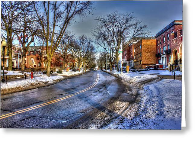 Snow Day In Madison Wisconsin Greeting Card by Yinan Chen