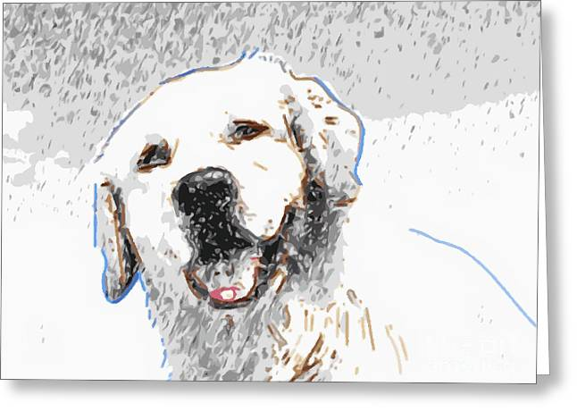 Golden Retriever Digital Greeting Cards - Snow Dog Greeting Card by Laura Brightwood