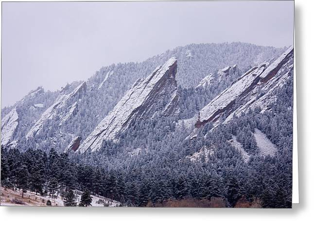Colorado Mountains Greeting Cards - Snow Dusted Flatirons Boulder Colorado Greeting Card by James BO  Insogna