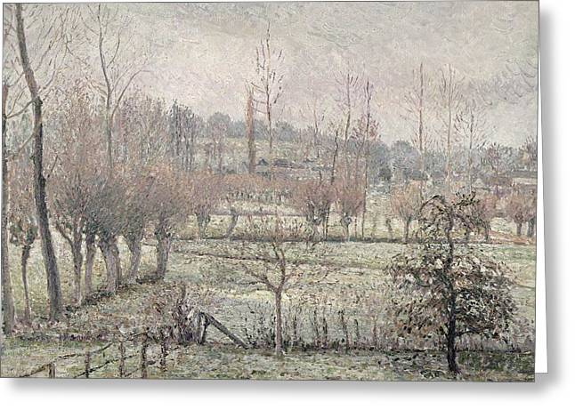Pissarro; Camille (1830-1903) Greeting Cards - Snow Effect at Eragny Greeting Card by Camille Pissarro