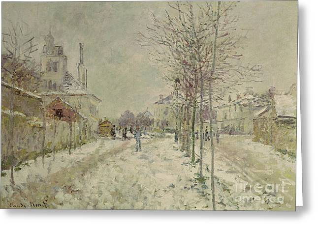 Effect Greeting Cards - Snow Effect Greeting Card by Claude Monet
