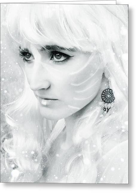Girl Face Greeting Cards - Snow fairy Greeting Card by Wojciech Zwolinski