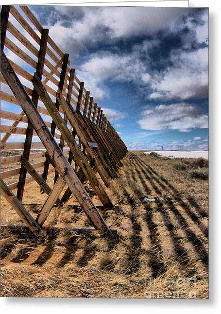 Summer Landscape Reliefs Greeting Cards - Snow Fence Greeting Card by Nena Trapp