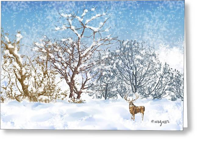 Snow Scene Digital Greeting Cards - Snow Flurry Greeting Card by Arline Wagner