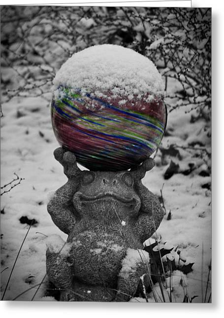 Snow Globe Greeting Cards - Snow Frog Greeting Card by Teresa Mucha
