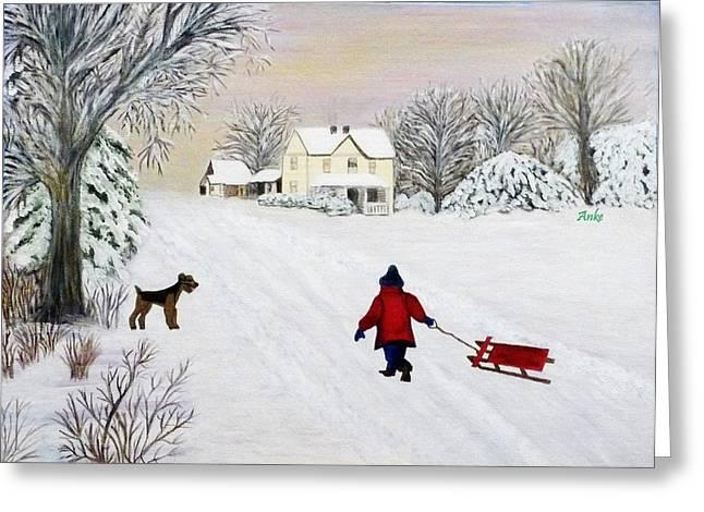 Snow Fun Greeting Card by Anke Wheeler