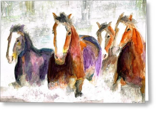 Horse Herd Greeting Cards - Snow Horses Greeting Card by Frances Marino
