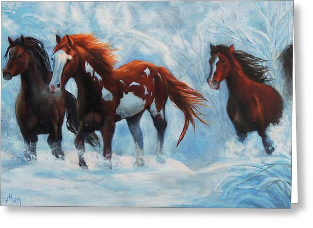 Christmas Greeting Greeting Cards - Snow Horses Greeting Card by Karen Kennedy Chatham