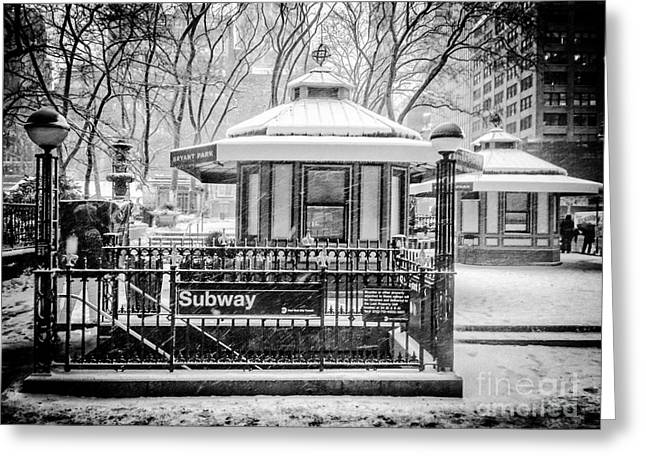 Bryant Greeting Cards - Snow in Bryant Park Greeting Card by Angelo Merluccio