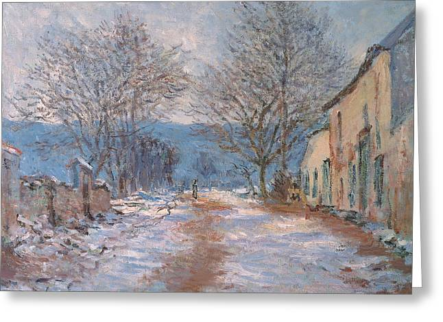 Village In France Greeting Cards - Snow in Limetz   Effet de neige a Limetz Greeting Card by Claude Monet