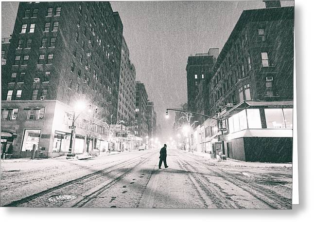 Snow In New York City Greeting Card by Vivienne Gucwa