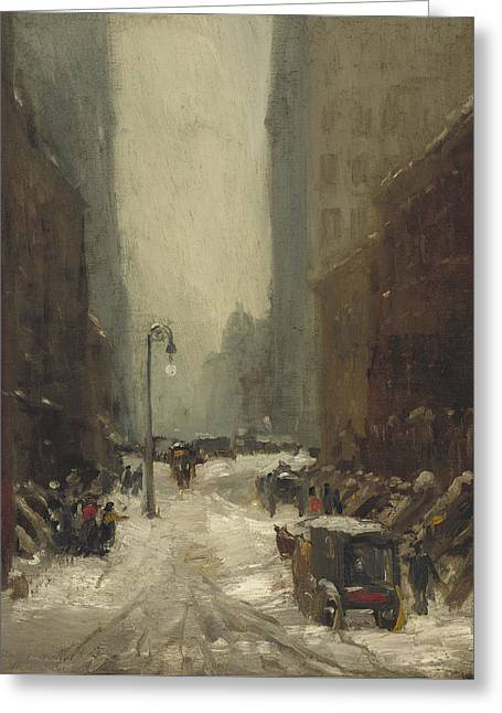 Snow In New York Greeting Card by Robert Cozad Henri